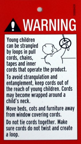 Cord Amp Chain Warning Sign For Roman Blinds Etc Chwarngen